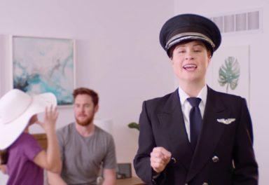 Female pilot explaining air passenger rights