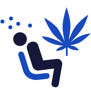 Person impaired and cannabis leaf icon