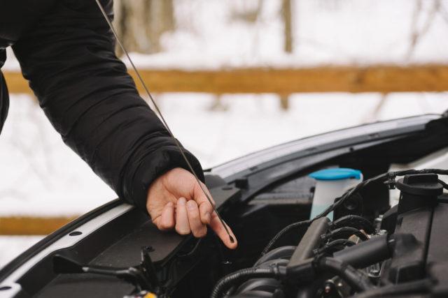 Winter car care oil check