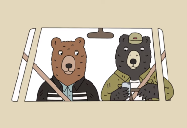 Illustration of bear texting while driving