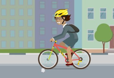 Illustration of woman on bicycle looking stressed