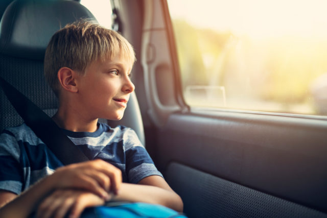 A child wearing a seatbelt in a vehicle