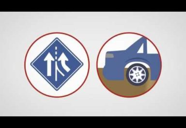 Illustration of a road sign and the rear end of a car