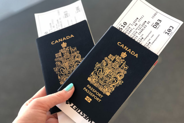 Two passports with airline tickets
